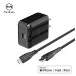 Cable Tipo C-Lightning MFI 1.2m + CARGADOR 18W USB C RELIQ(MCDODO) Negro